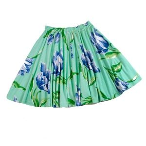 Adrienne Vittadini Cotton Print Flair Skirt - L